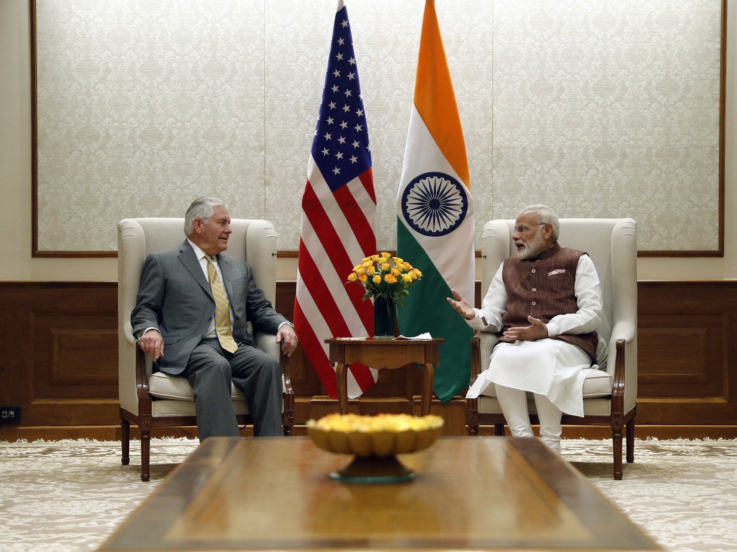 Tillerson and Indian Prime Minister Modi meet to discuss the future of their nations. Graphic courtesy of Getty images