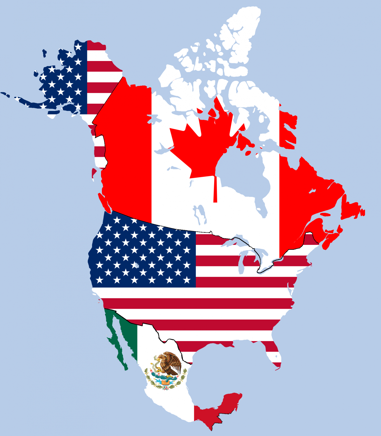 NAFTA, the North American Free Trade Agreement, is a free trade deal between Mexico, Canada, and the United States. Graphic courtesy of Wikimedia Commons