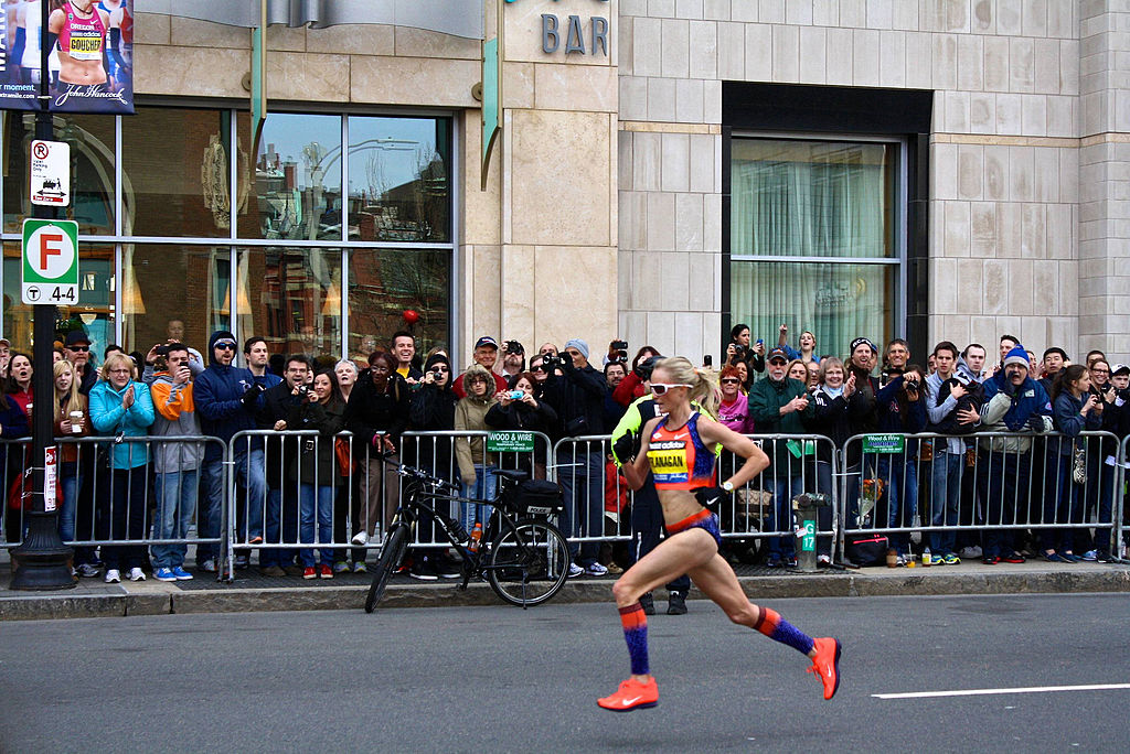 Shalane Flanagan has always been an avid marathon competitor. Here she is pictured running the Boston Marathon in 2013. Graphic courtesy of Wikimedia Commons