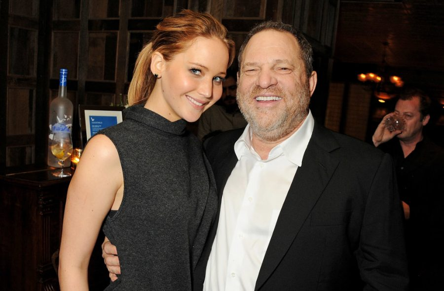 Harvey+Weinstein+pictured+with+actress+Jennifer+Lawrence+prior+to+sexual+harassment+allegations.+Graphic+courtesy+of+AOL.com