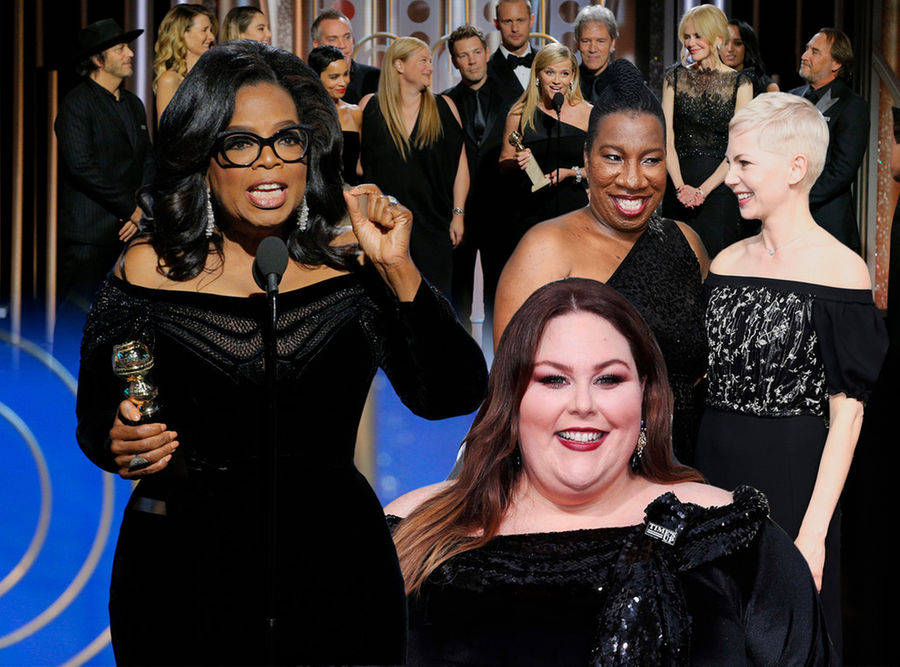The Time's Up movement made itself heard at the 2018 Golden Globes. Graphic courtesy of ENEWS.