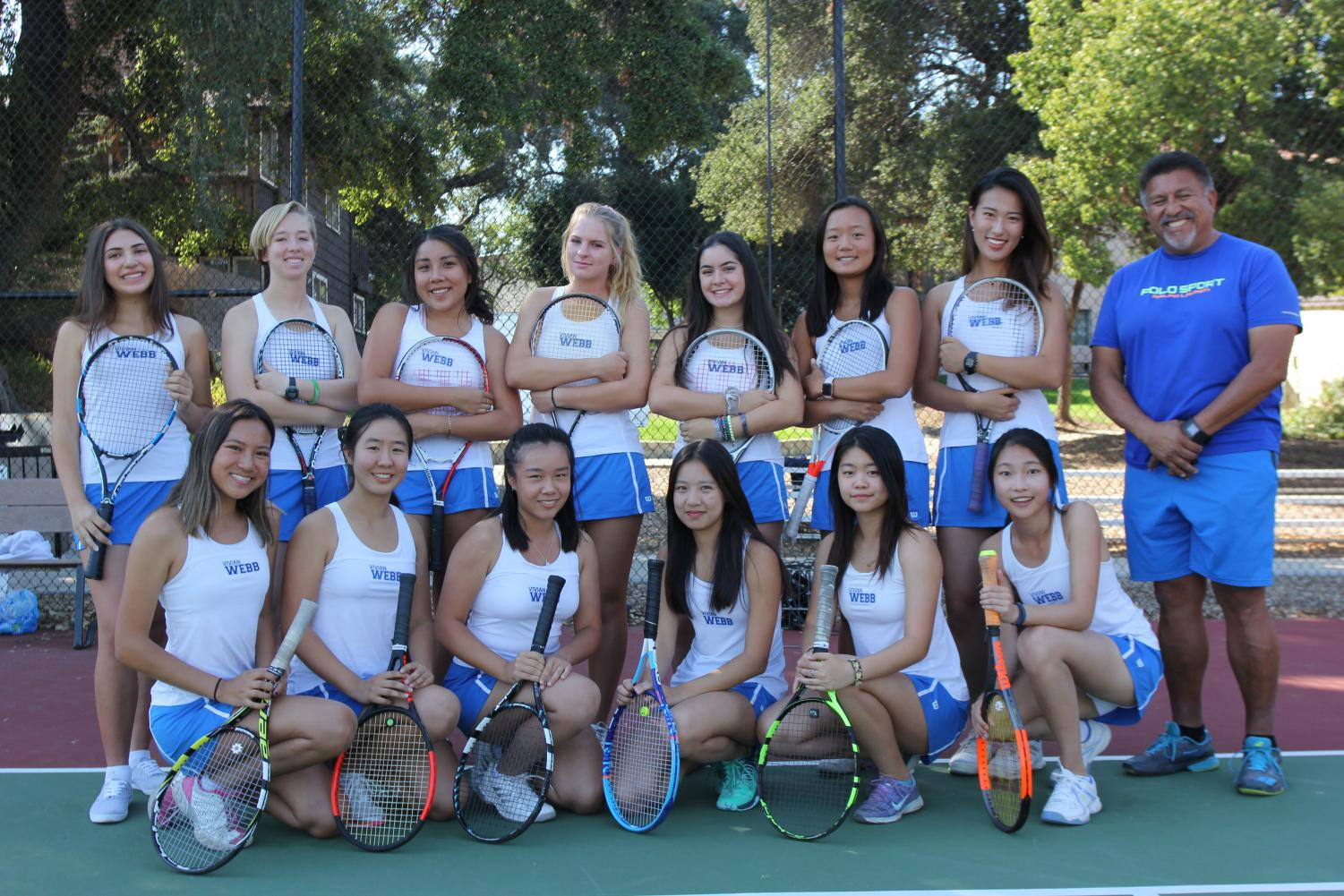 Glancing back: A photo of the girl's tennis team. Graphic courtesy of Elena Monroe ('18)