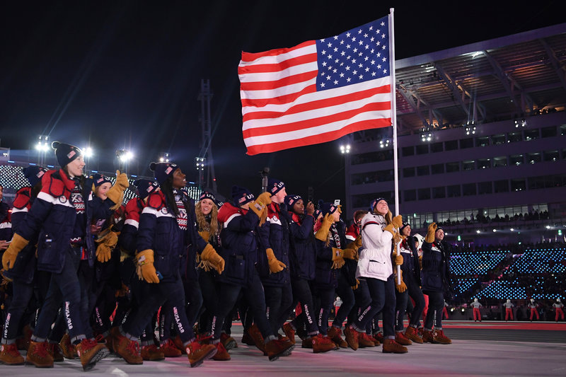 Team+USA+carries+the+American+Flag+at+the+opening+ceremony+of+the+PyeongChang+Winter+Games.+