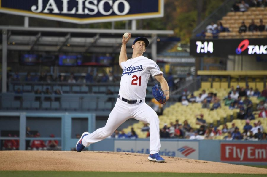 Los+Angeles+Dodgers%27+pitcher+Walker+Buehler+pitched+6.0+innings+and+gave+up+two+runs+in+a+loss+to+the+Cincinnati+Reds+%28photo+courtesy%2FRowan+Kavner%29.