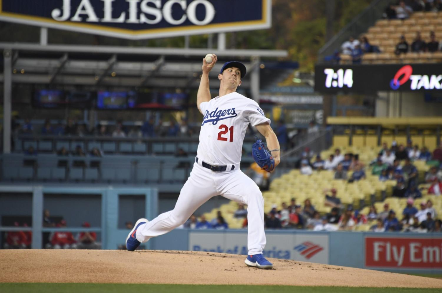 Los Angeles Dodgers' pitcher Walker Buehler pitched 6.0 innings and gave up two runs in a loss to the Cincinnati Reds (photo courtesy/Rowan Kavner).