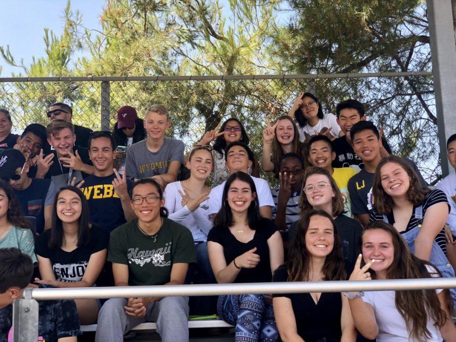 Student fans cheer for the Webb varsity football team.
