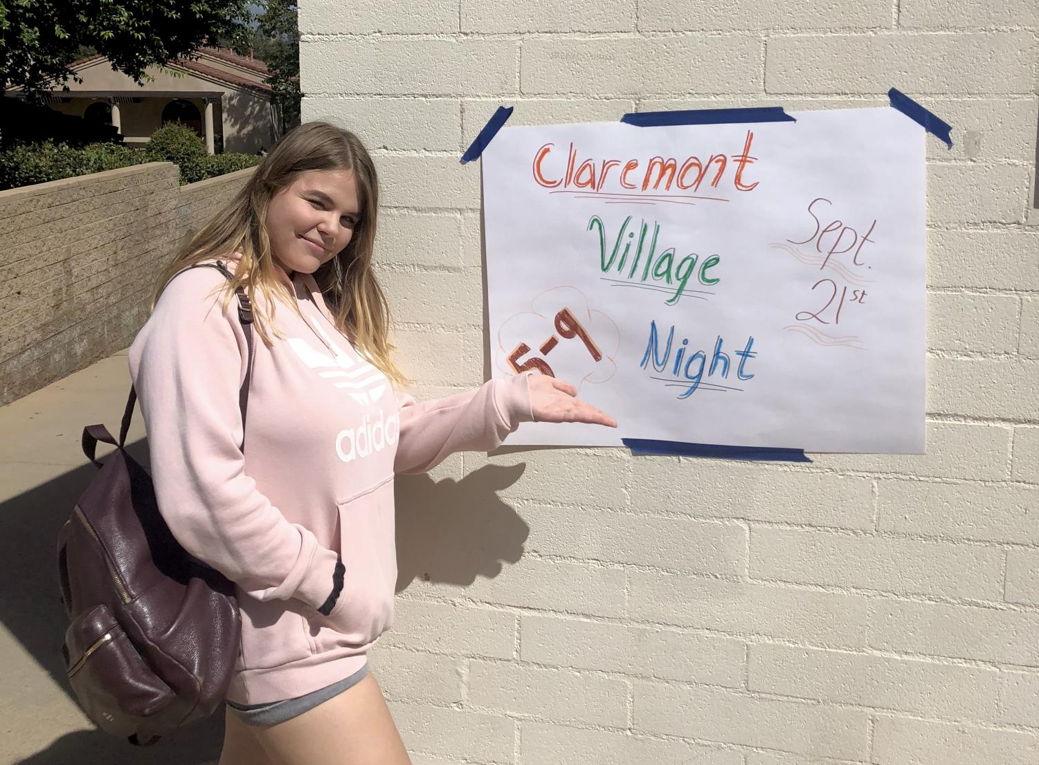 Maria Shevchuk ('19) looks forward to attending Claremont Village Night. Graphic Courtesy to Emily Stepanian