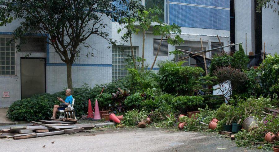 Trees and other objects have toppled onto residential roads in Hong Kong. Graphic courtesy of Dan Hsu
