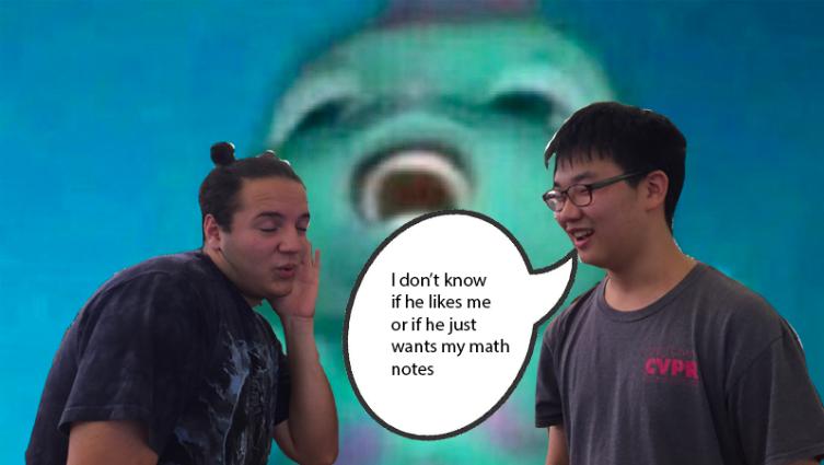 Ben Martinez ('19) and Woosuk Kang ('19) enjoy the content on @overheardwebb.
