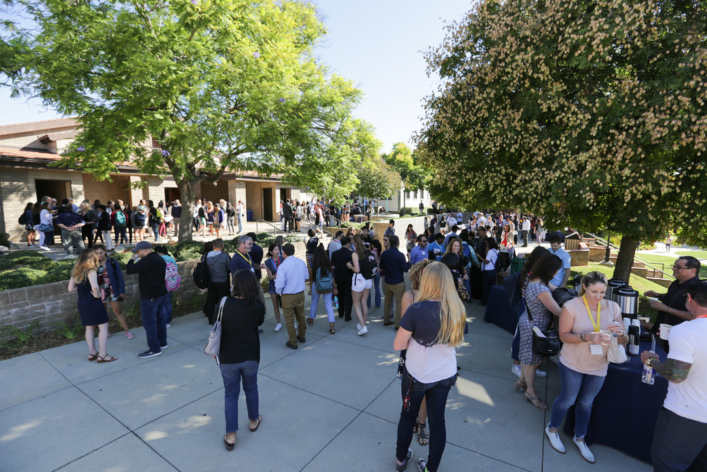 Parents gather on the quad and enjoy Parents' Day.
