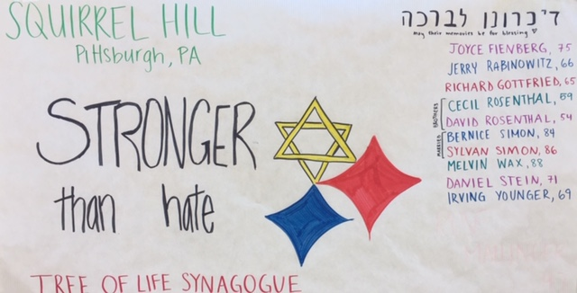 The Jewish Club responds to the Pittsburgh shooting with a poster containing a list of the names of the victims.