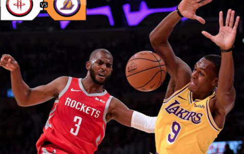 Houston guard Chris Paul (left) and Lakers guard Rajon Rondo (right) bump into one another prior to their fight. Graphic courtesy of Sam Annunziato ('19).