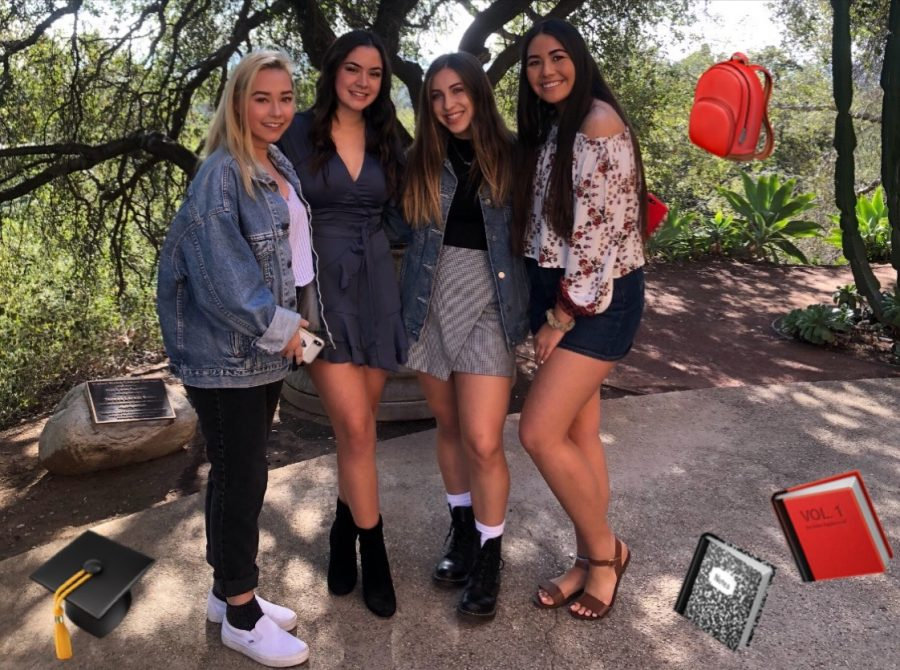Some of the graduating girls of the senior class pose for a picture after a senior chapel talk. Graphic courtesy of Vanessa Casillas ('19).