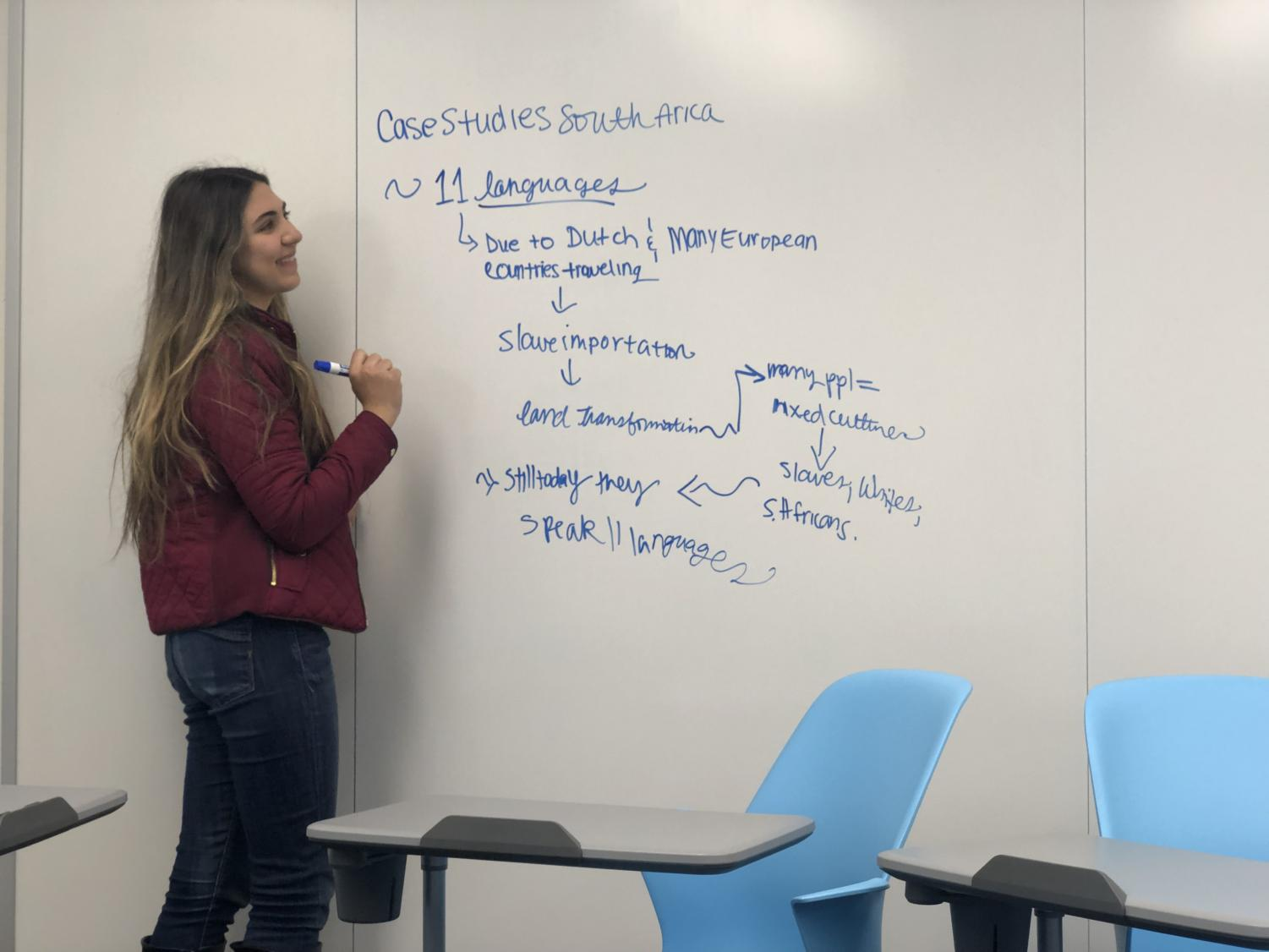 Isabelle Saad ('20) brainstorms ideas for her Advanced Studies Case Study of South Africa project