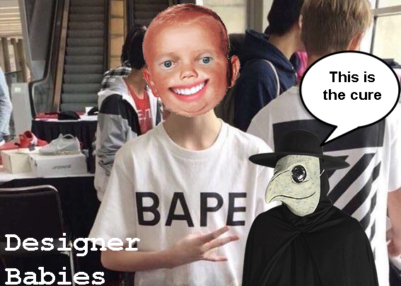 Infant dons designer clothing as Doctor expresses his approval. Graphic courtesy of Connor Walker ('19).