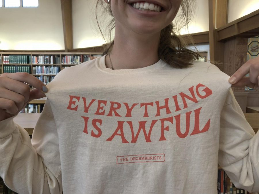 Bridgid Corbin ('19) is wearing a pessimistic tee despite being a known optimist.