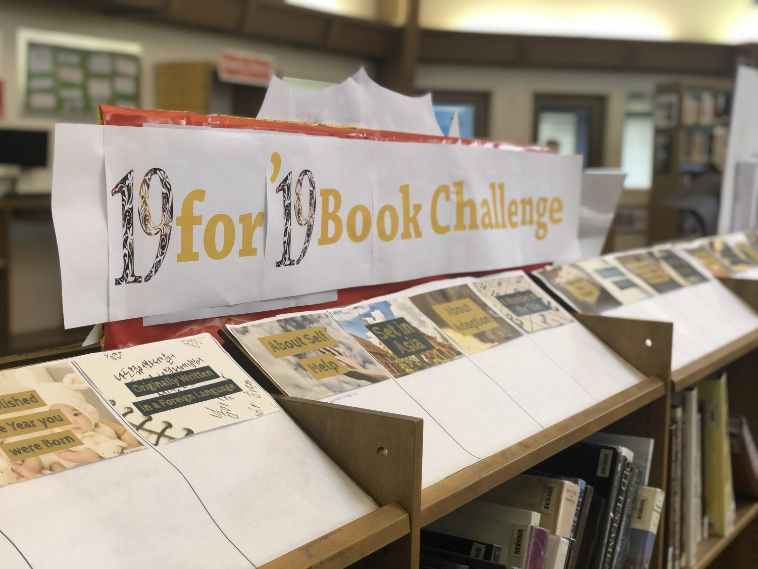The 19 for '19 Book Challenge is now on display in Fawcett Library.