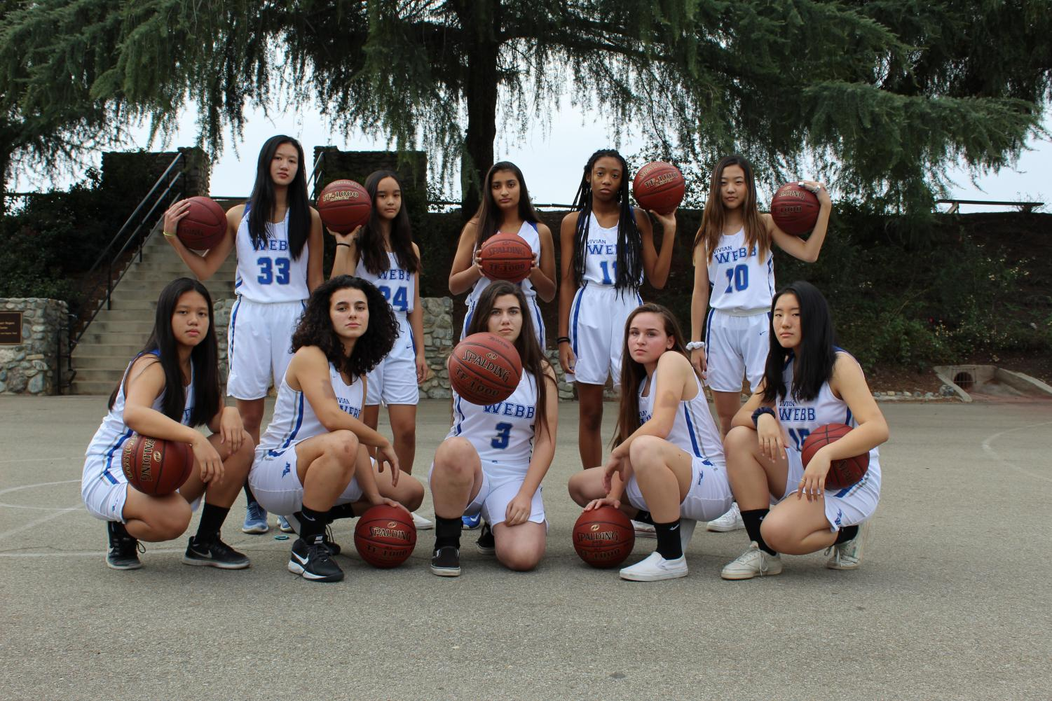 "VWS varsity basketball poses in home uniforms for their team picture in the El Espejo yearbook. On the same day, December 14th, 2019, the team stomped over their opponent, Samueli Academy, in their first league game, starting their undefeated streak in league. In addition to winning 65-24, Samueli Academy held the title of league champions in the previous year. Giselle Alrachid ('20) said, ""[The game against Samueli Academy] was a great start off to a fantastic season. The energy was there from the beginning and even though we were ahead we never let up and fought to the end. And this is the mentality we brought with us throughout the season."""