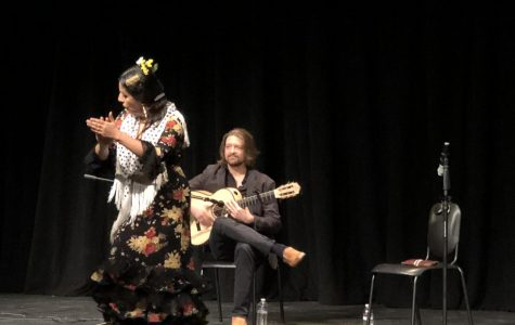 "Briseyda Zárate dances and claps her hands while Juanito Pascual plays guitar. The two performers arrived at Webb on the evening of January 30th and gave a lecture-demonstration to students about the art of flamenco dancing. Ryan Bridges ('20) said, ""It was a very interesting to learn about it and all the little details of flamenco, and I think the people they chose for this performance were very good."""