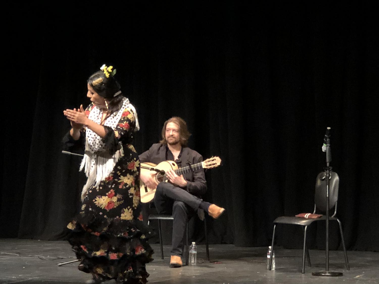 """Briseyda Zárate dances and claps her hands while Juanito Pascual plays guitar. The two performers arrived at Webb on the evening of January 30th and gave a lecture-demonstration to students about the art of flamenco dancing. Ryan Bridges ('20) said, """"It was a very interesting to learn about it and all the little details of flamenco, and I think the people they chose for this performance were very good."""""""