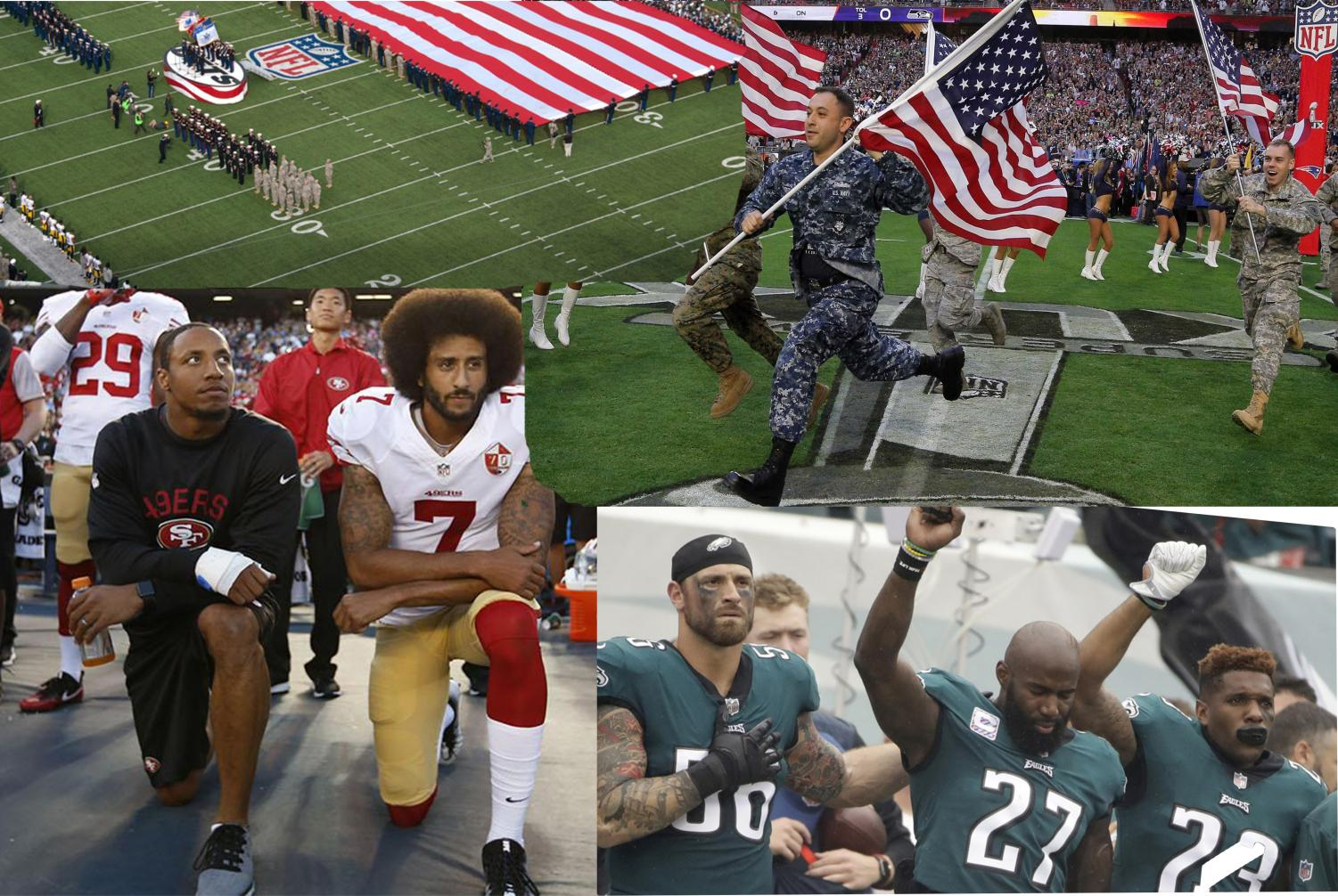 NFL players have been protesting the national anthem for over a year by kneeling or raising fists. Graphic courtesy of Patrick Dóñez ('21)