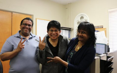 Faculty members Ms. Wijeyeratne, Mr. Noronha, Ms. Pangilinan pose for a picture with uncontrollable laughter.