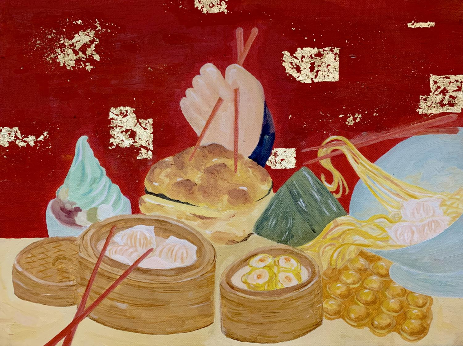 Alice Hou's ('20) mixed media triptych entitled