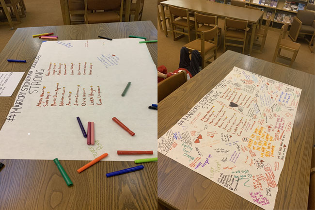 Before and after: Students fill Parkland posters with love.