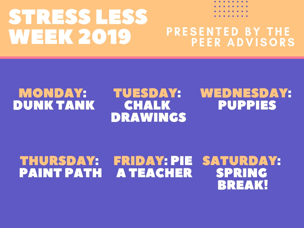 This graphic provides an overview of Stress Less Week. Graphic Courtesy of Cathy Yan ('19)