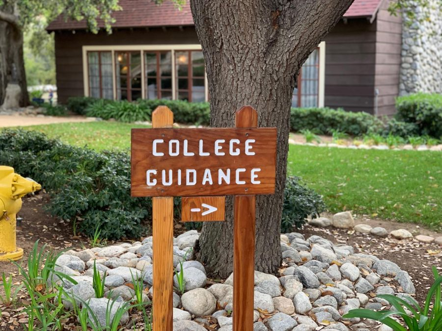 The Webb Schools' college guidance sign points towards the office.