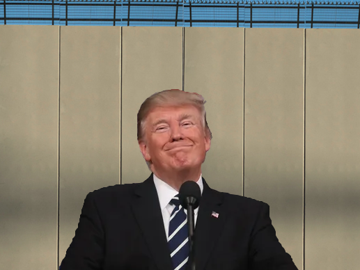 President Donald Trump mentions his controversial wall prototype. Graphic Courtesy of Sam Annunziato ('19).