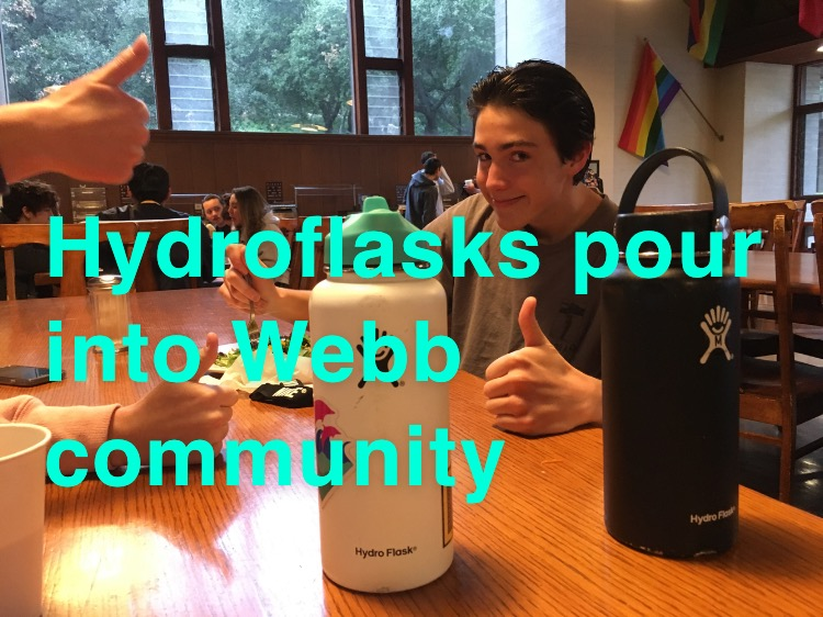 Ian Igleheart ('20) and others have a thumbs up all around for Hydro Flasks. Graphic Courtesy of Gracie Reda ('19).