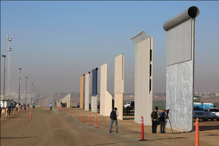 President Trump's seven border wall prototypes are located in San Diego, California. Graphic Courtesy of Archinect