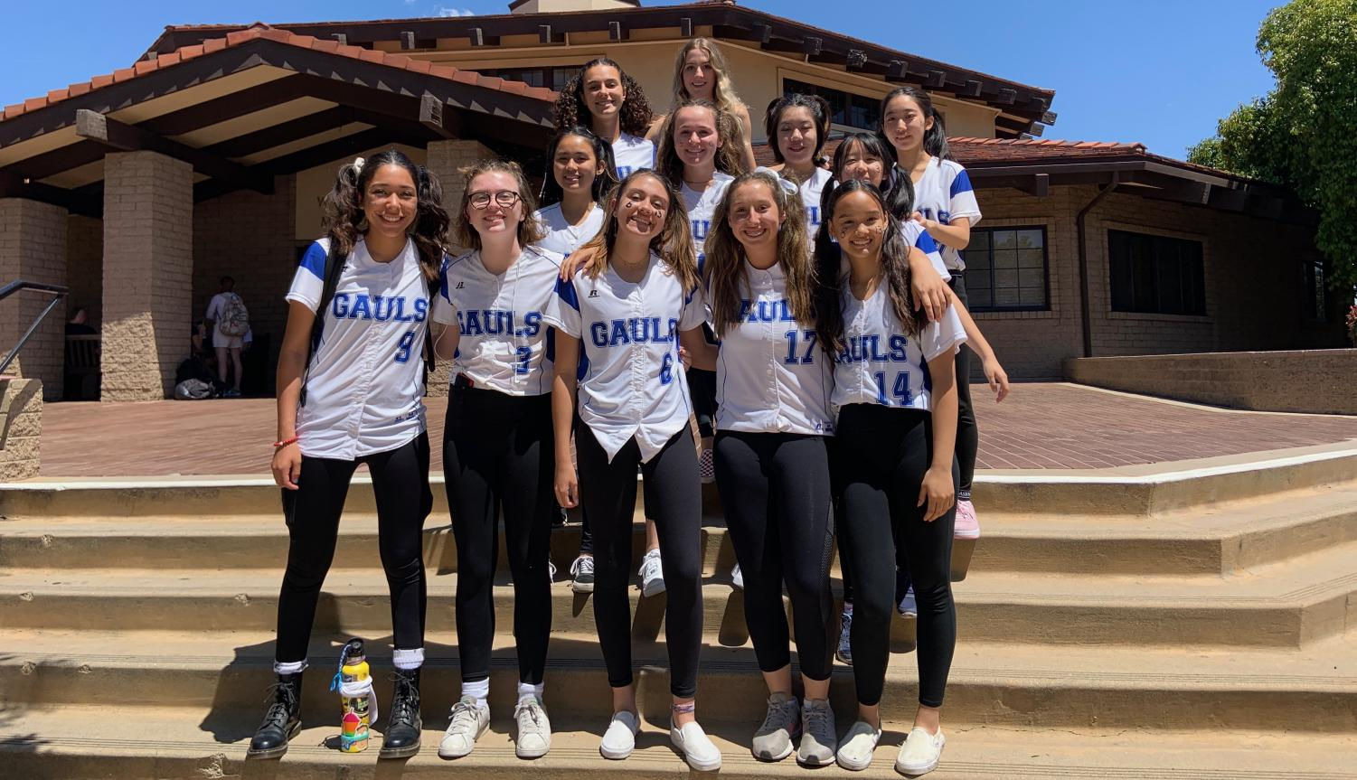The 2019 VWS softball team celebrates their senior spirit for their graduating members.