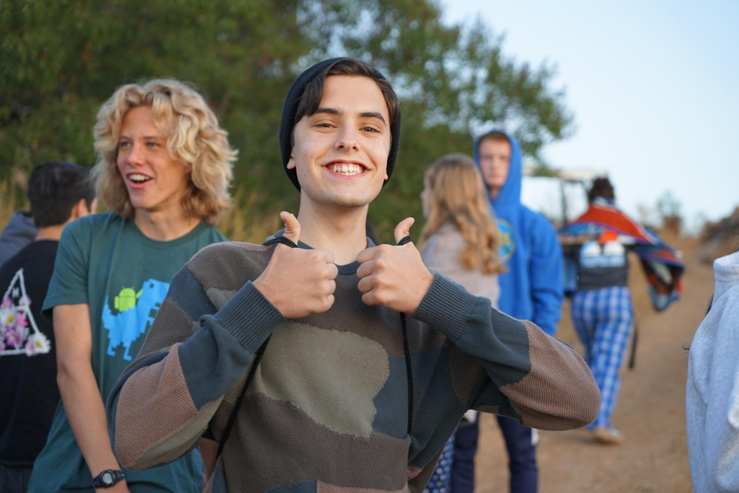 Colin+Kidwell+%28%2720%29+gives+two+thumbs+up+to+Senior+Sunrise