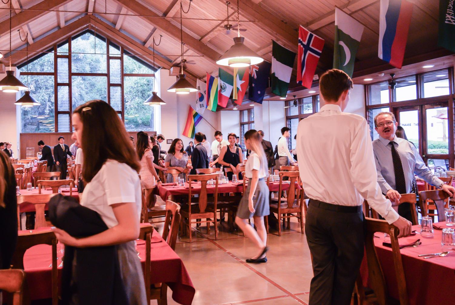 After Sunday chapel service, Webb students bustle into the dining hall and toward their community dinner tables.