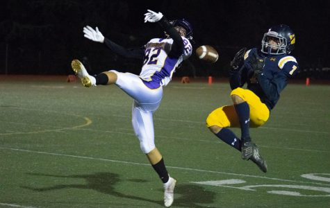 Indy Viramontes ('21) catches a pass in the air.
