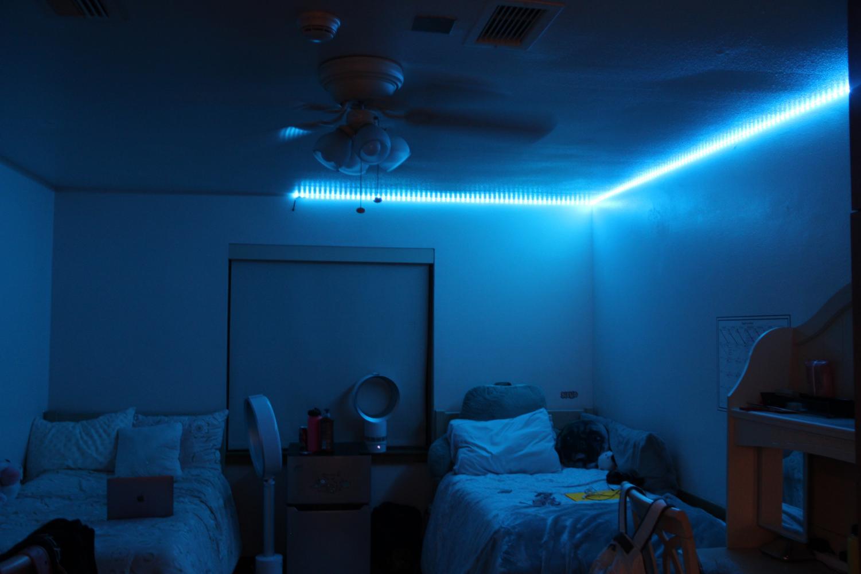 Angie Chen ('20) and Alia Al-Turki's ('20) room glows in blue in the dark.