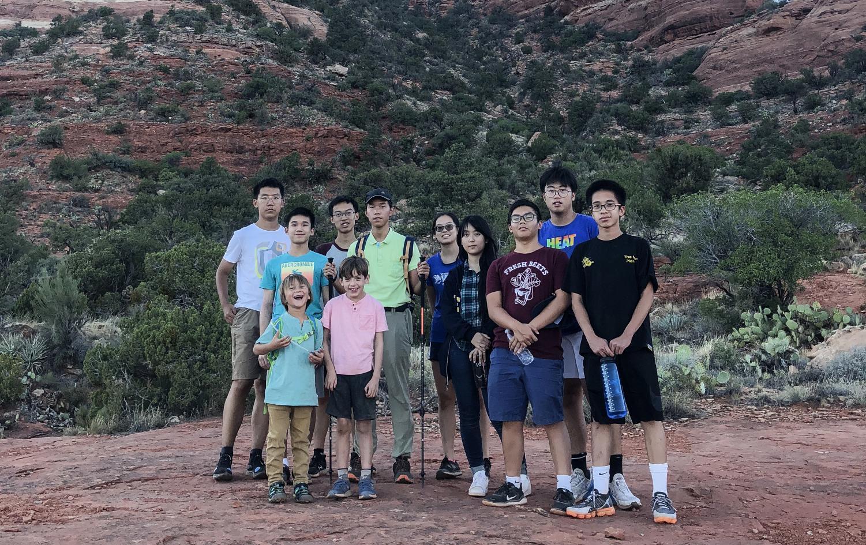 Falcon Fu ('23), Ben Thien-Ngern ('23),Jonathan Yu ('22), Stanley Jian ('23), Sunny Yu ('22), Everett Xu ('23), Conrad Poon ('23), Teddy Meng ('23), Bobby Pham ('23), Austin, and  Sol before hiking up Bell Rock trail.
