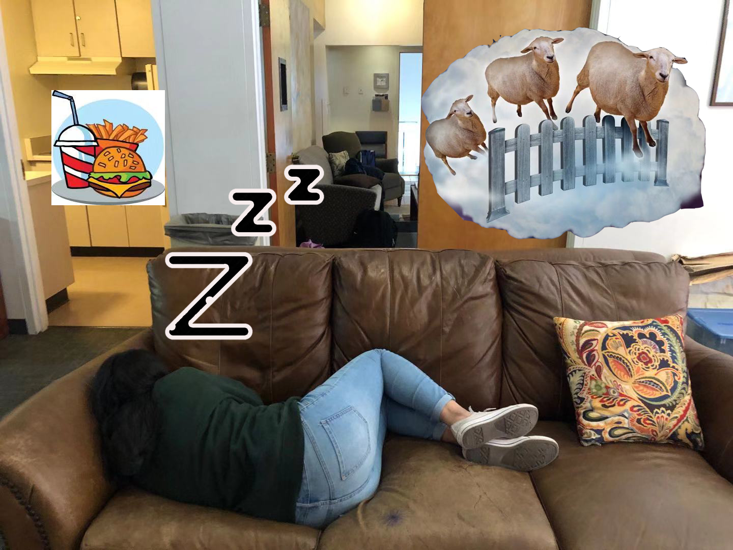 Sneha Jindal ('21) naps in South Hutch lounge. Graphic Courtesy of Sunny Yu ('22).
