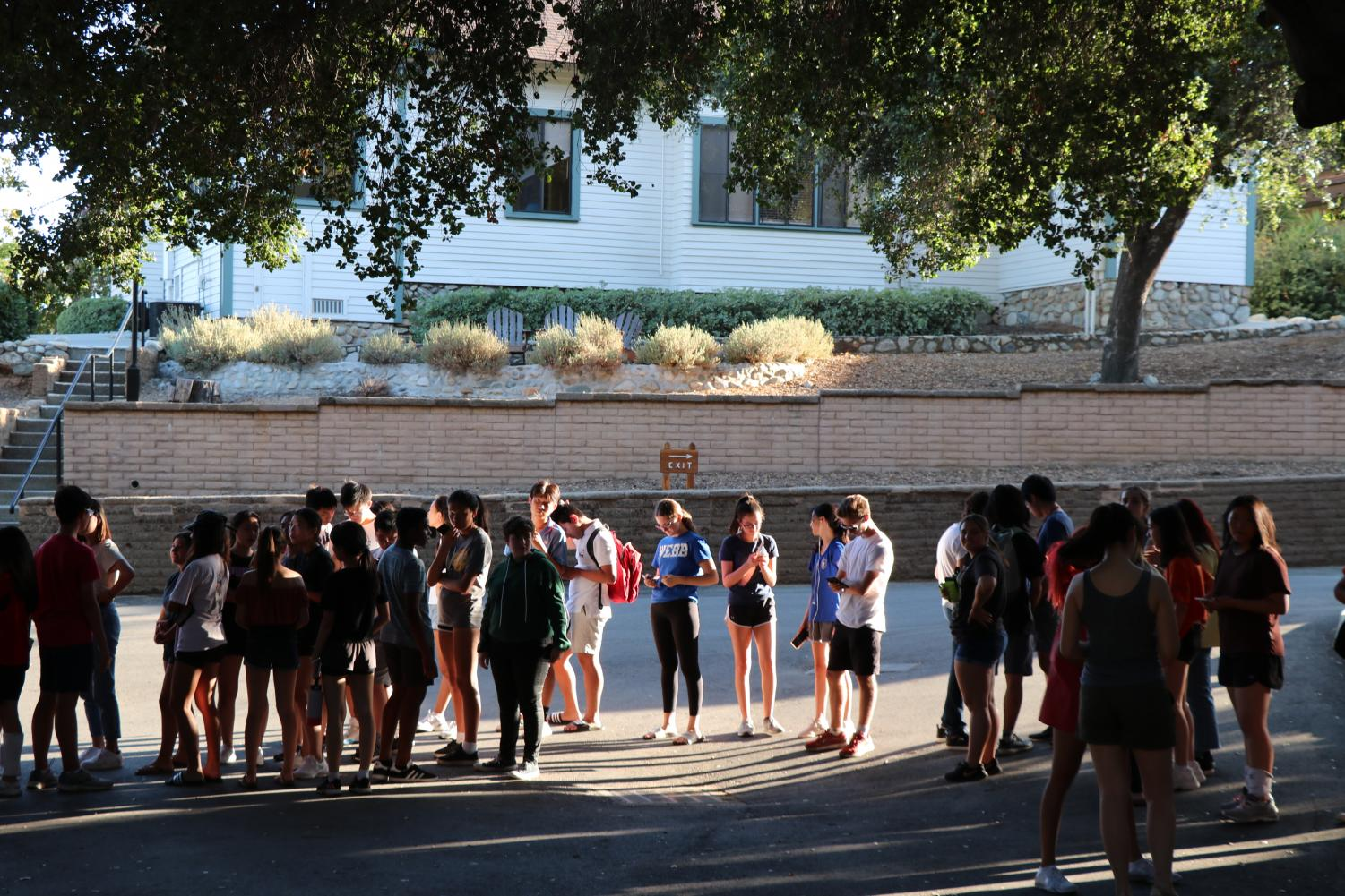 Many Webb students gather in crossroads for the Mid-Autumn Festival after their afternoon activities.