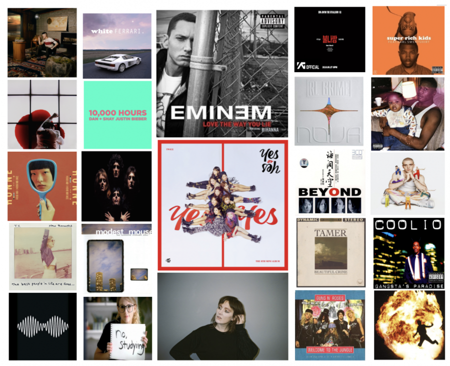 Here are the album covers for each of our staff member's favorite songs. Graphic courtesy of Sydney Wuu ('20)
