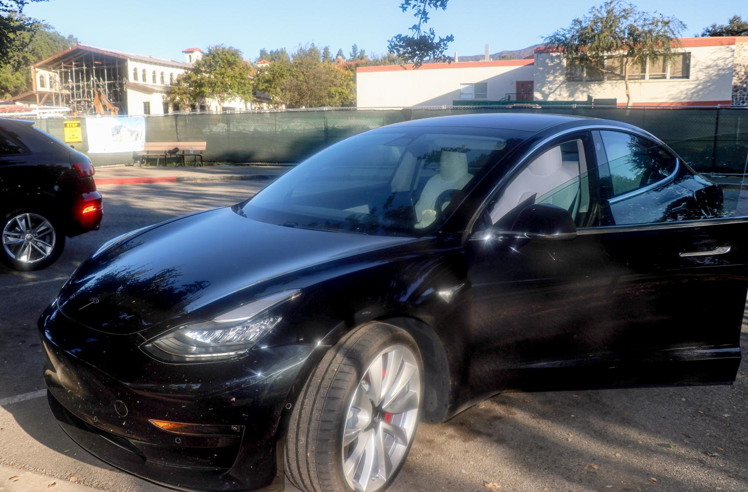 Amanda Wang's ('20) Tesla parked at Webb.