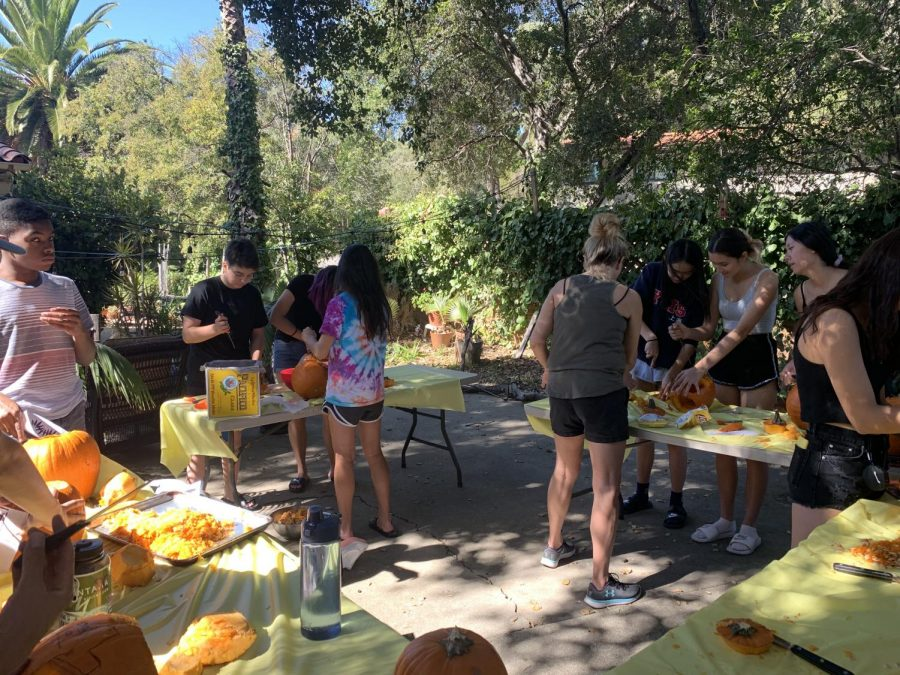 WSC and VWS freshmen work on their pumpkins.