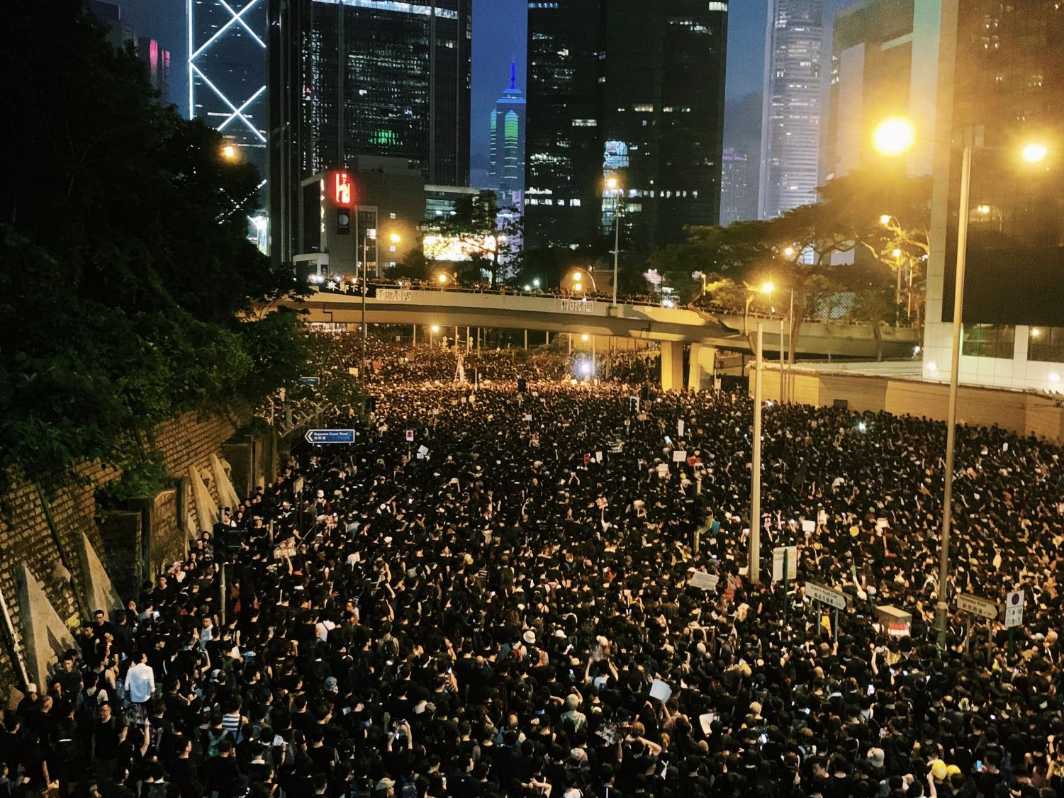 A Hong Kong street full of protesters