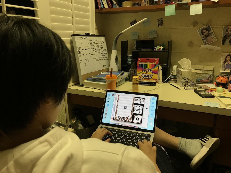 """Jojo Jiang ('22) plays """"Not-Tetris"""" at 9:08 p.m.."""