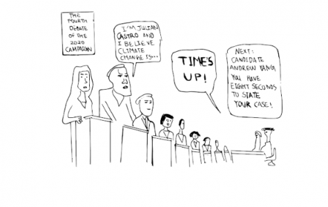 A sarcastic illustration of the fourth Democratic debate