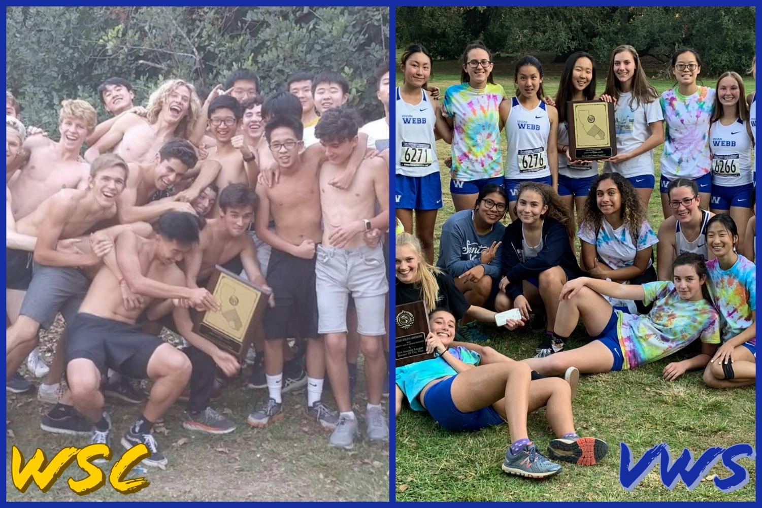 The WSC and VWS cross country teams smile with their new league champions plaque.