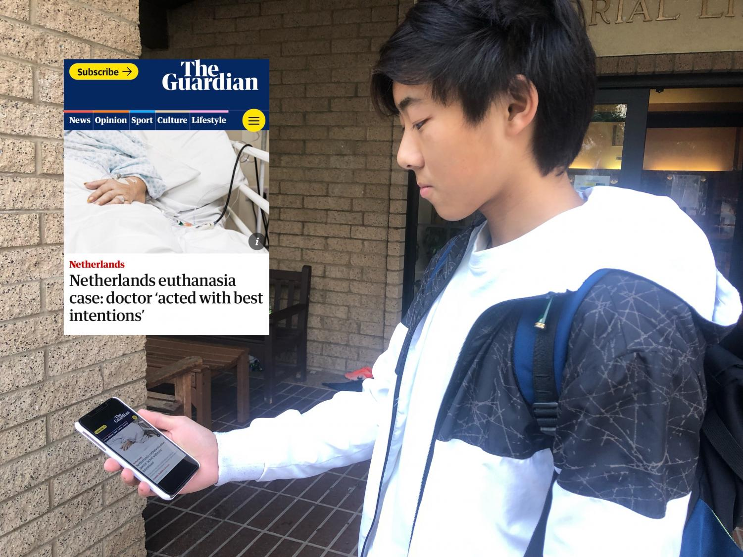 Winston Li ('21) reads an article on the euthanasia case in the Netherlands.