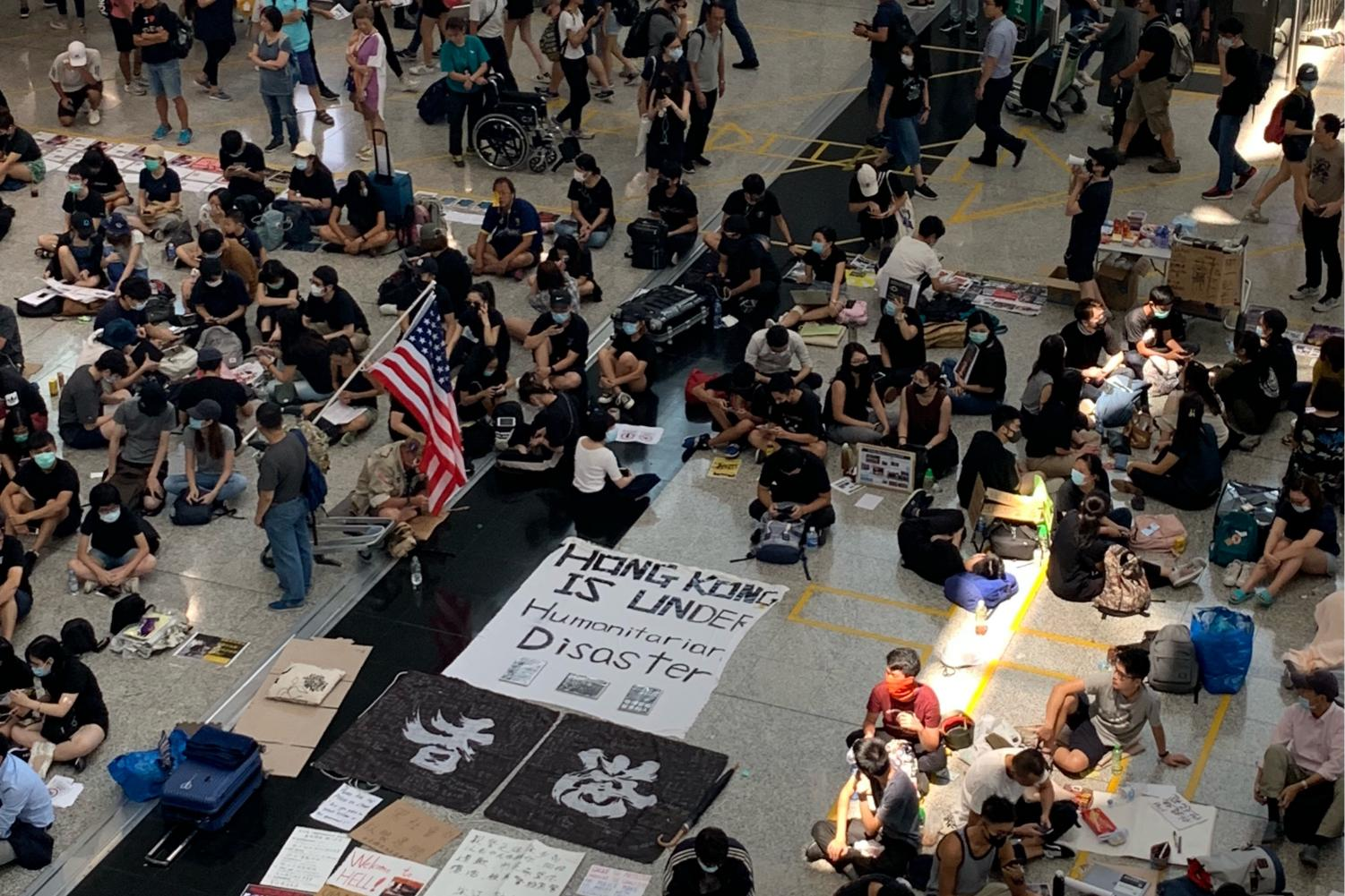 Protestors occupy the Hong Kong airport in August 2019.